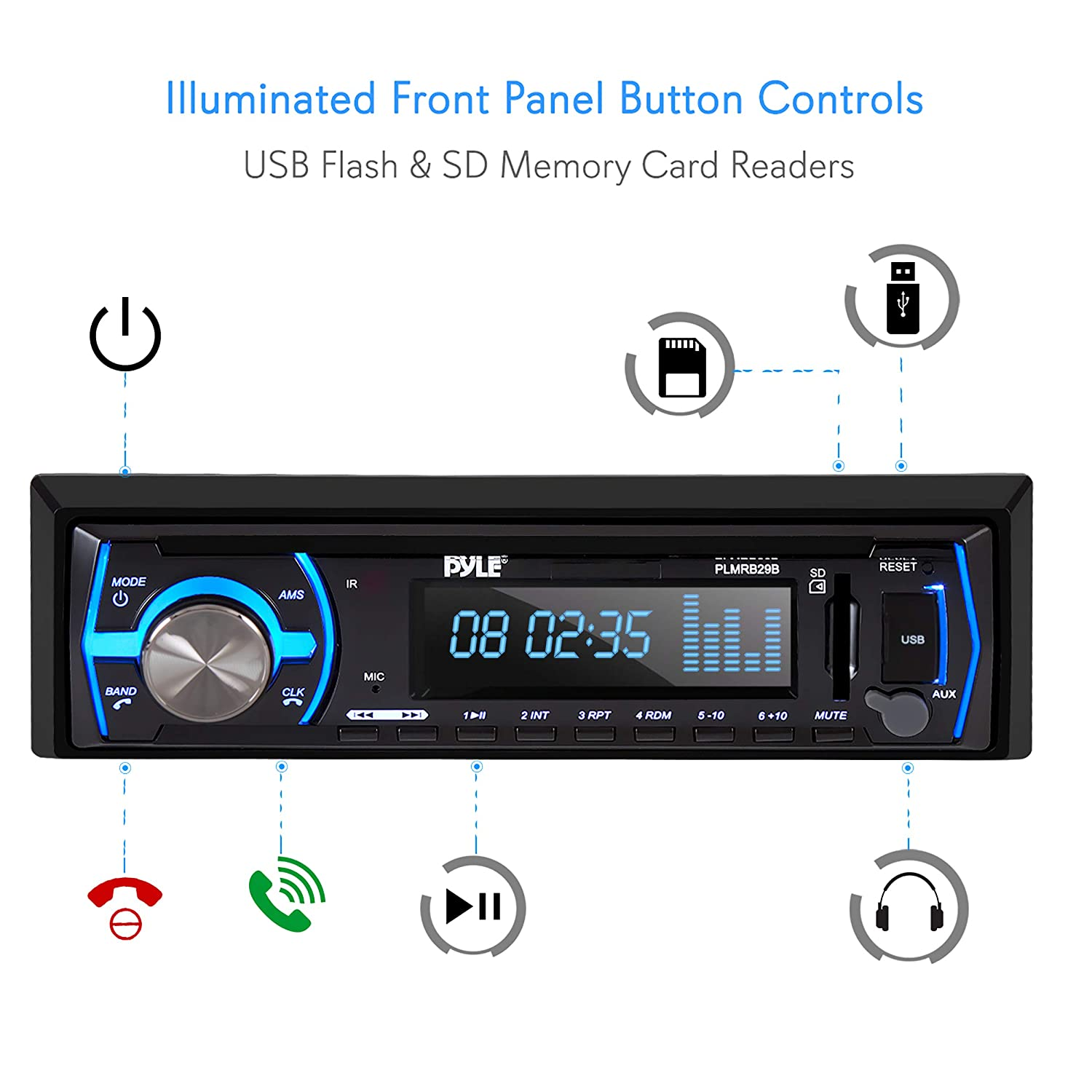 Pyle Marine Bluetooth Stereo Radio - 12v Single DIN Style Boat in Dash  Radio Receiver System with Built-in Mic, Digital LCD, RCA, MP3, USB, SD, AM  FM