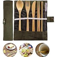 JZZJ Bamboo Travel Utensils Bamboo Cutlery Set Camping