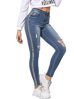 Amazon.com: Pantalones vaqueros envejecidos, para mujer ...