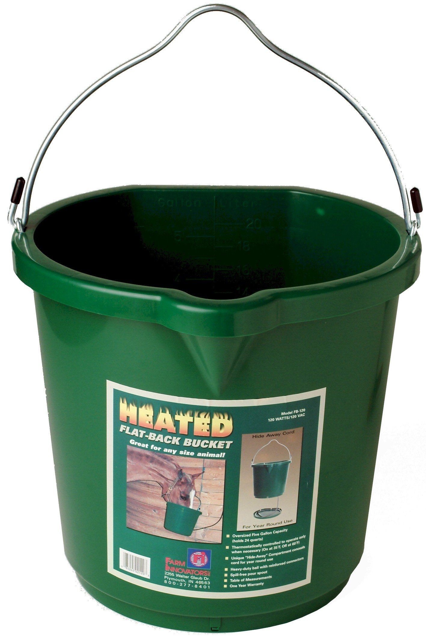 Farm Innovators 5-Gallon Flat-Back Heated Bucket (Additional Sizes and Styles Available) by Farm Innovators