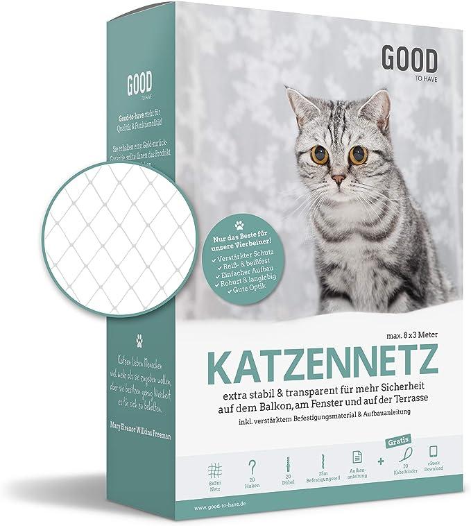 good De de gatos Have To Red protectora para balcón & ventana | 8 x 3 m | extra estable, transparente, montaje fácil también sin agujeros, con material de fijación reforzada &