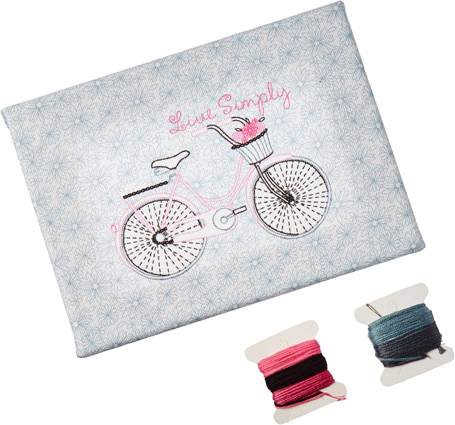 """Needle Creations Easy Peasy Embroidery Kit 5/""""x7/""""-scooter Stamped On Canvas"""