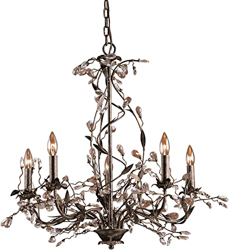 Elk 8054 5 5-Light Chandelier in Deep Rust and Crystal Droplets