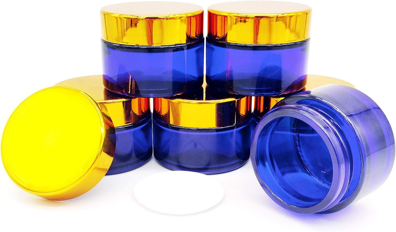 Bocaux Cosm/étique en Verre Bleu Vide avec Capuchon Int/érieur pour Le Remplissage de Cr/ème Parfait pour Les DIY Cosm/étiques /à la Maison