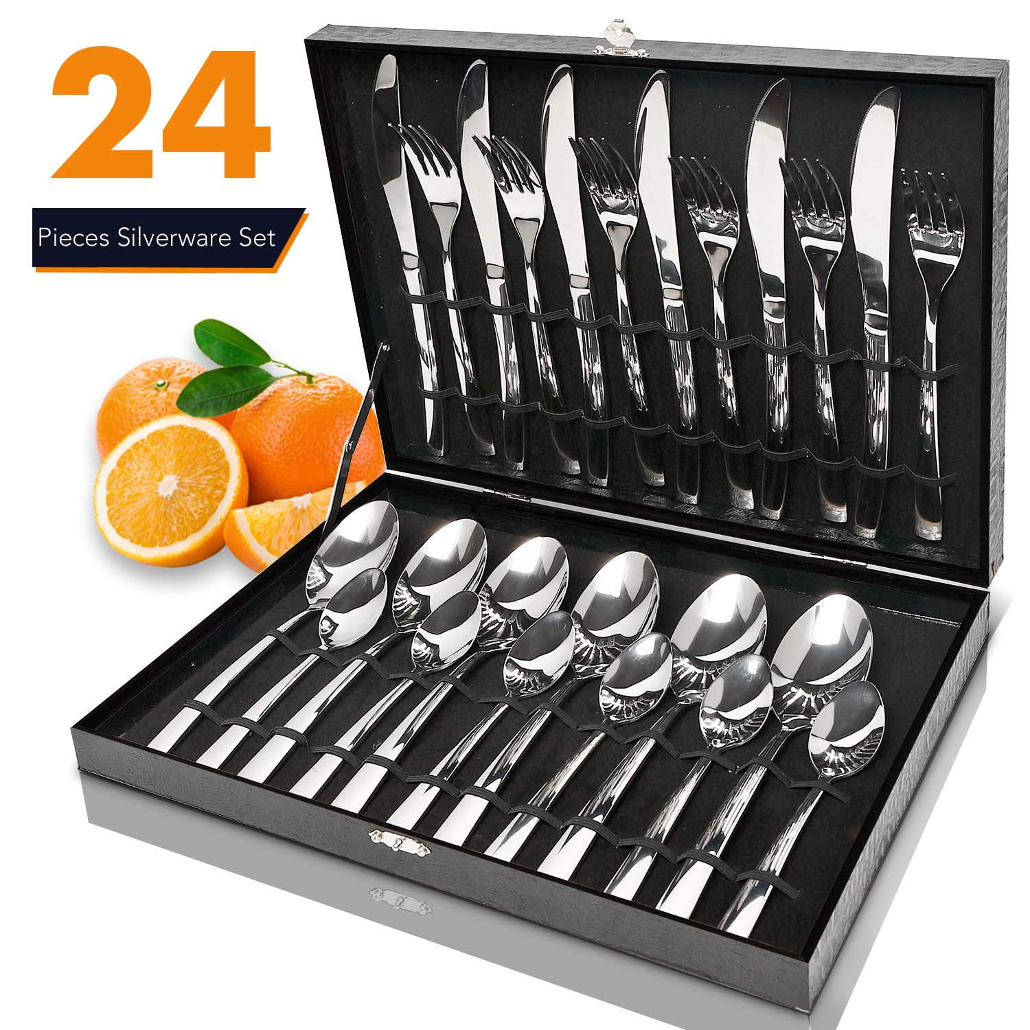 Silverware Set,Elegant Life 24-Piece Stainless Steel Flatware Sets High-grade Mirror Polishing Cutlery Sets,Multipurpose Use for Kitchen,Restaurant Tableware Utensil Sets with Gift Box Service for 6