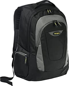 Targus Trek Professional Work Laptop Backpack with Slim Durable Material, Padded Back Panel for Lower Back Support, Front Accessory Pocket, Protective Sleeve for 16-Inch Laptop, Black/Gray (TSB193US)
