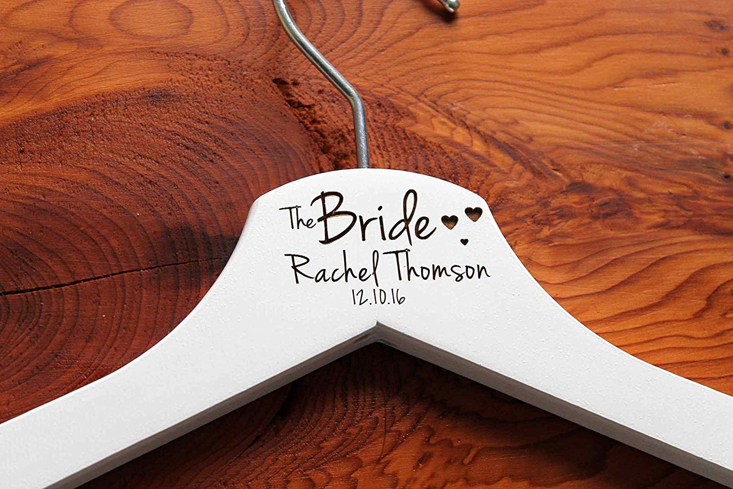 Personalised Hearts Bridesmaid Wedding Hanger in White Hanger Engraved Wedding Gift Bride Bridesmaids and more.
