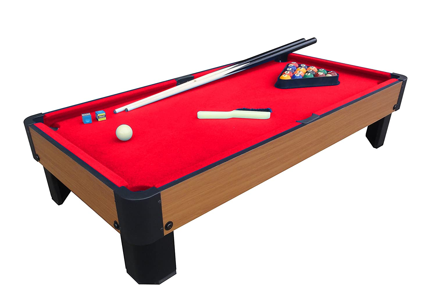Pool Table with red top and pool ques and pool balls all on the pool table