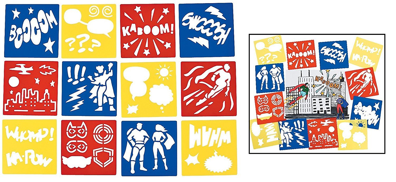 12 Superhero Stencils - Boom - Kaboom - Swooosh - Party Supplies Cool Fun 13642723