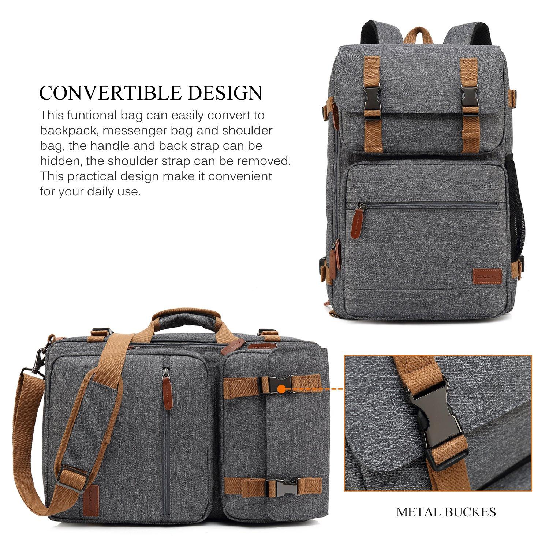CoolBELL Convertible Briefcase Backpack Messenger Bag Shoulder bag Laptop Case Business Briefcase Travel Rucksack Multi-functional Handbag Fits 17.3 Inch Laptop For Men/Women (Grey) by CoolBELL (Image #2)
