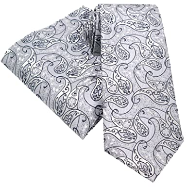 309389fc4498 LIGHT SILVER AND GREY MIXED REPEAT DESIGN PAISLEY FLORAL TIE AND  HANDKERCHIEF HANKY SET 146cm X