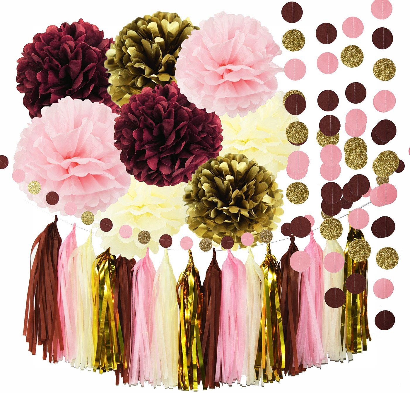 Burgundy And Gold Wedding Decorations: Qian's Party Bridal Shower Decorations Burgundy Pink