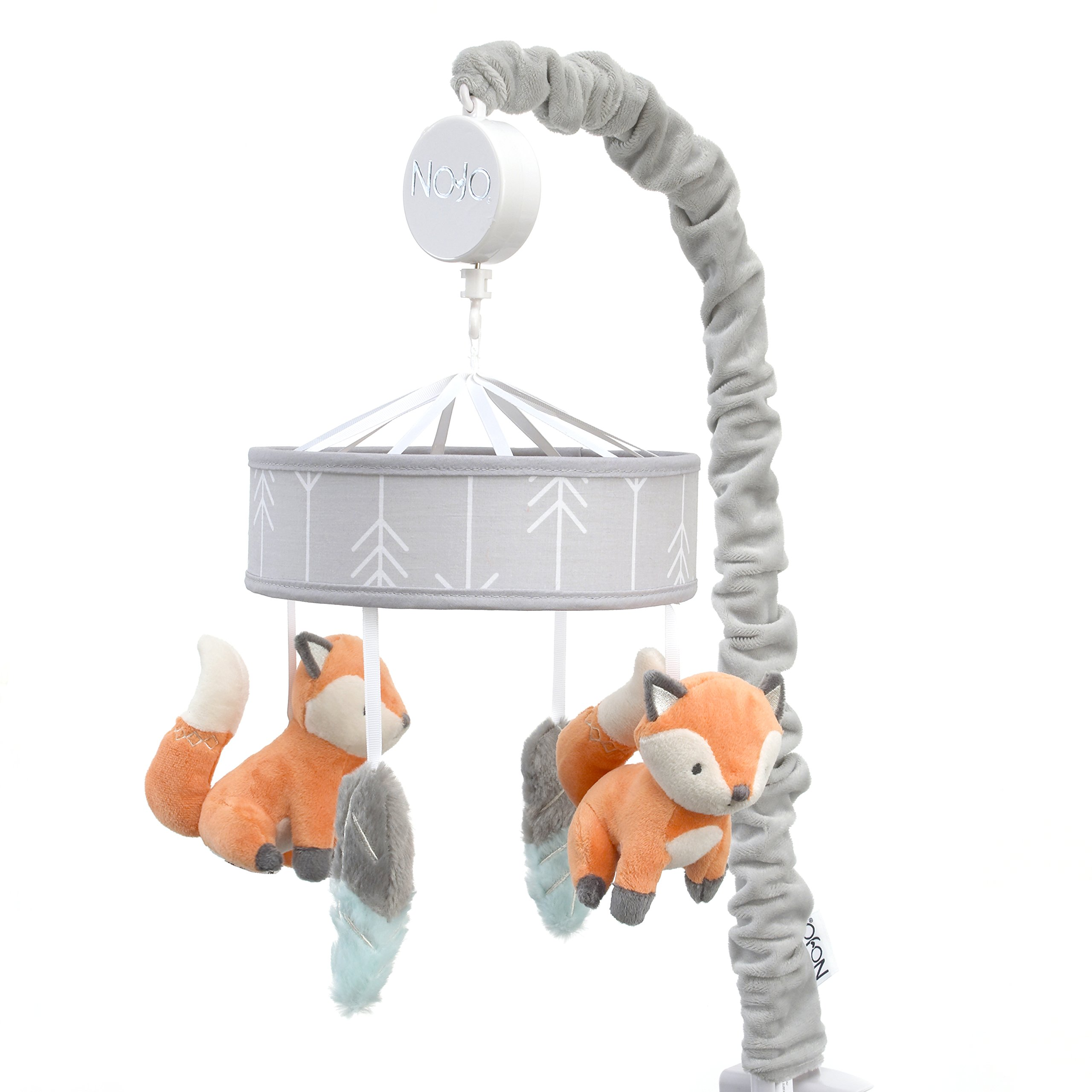 NoJo Aztec Mix & Match Nursery Crib Musical Mobile, Orange, Grey, Aqua, White, Feather