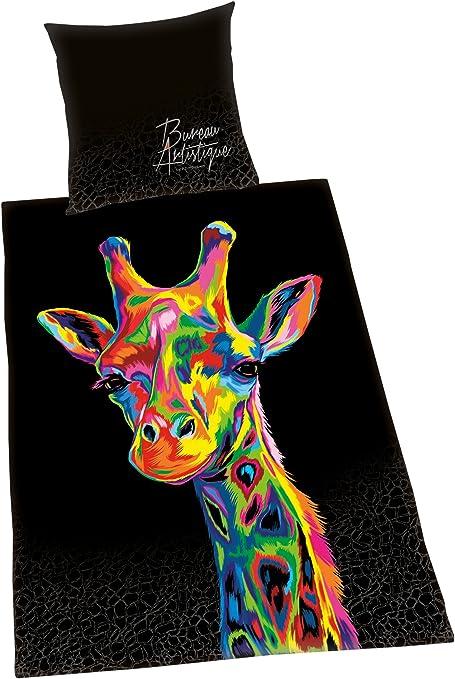 R/éversible Housse de Couette 155 x 220 cm Coton//Satin Taie dOreiller 80 x 80 cm Herding BUREAU ARTISTIQUE Parure de Lit Girafe