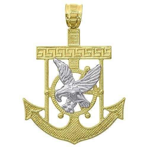 Pure 14k Gold Anchor Eagle Diamond Cut Pendant Necklace