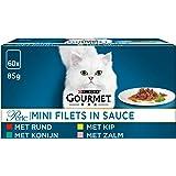 Gourmet Perle Mini Filets in Saus Kattenvoer, Natvoer Maaltijdzakjes met Rund, met Kip, met Konijn, met Zalm, 60 x 85g…