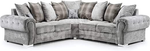 Honeypot - Sofa - Verona - Fabric - Corner Sofa - 3 Seater - 2 Seater -  Footstool (Large Corner, Grey)