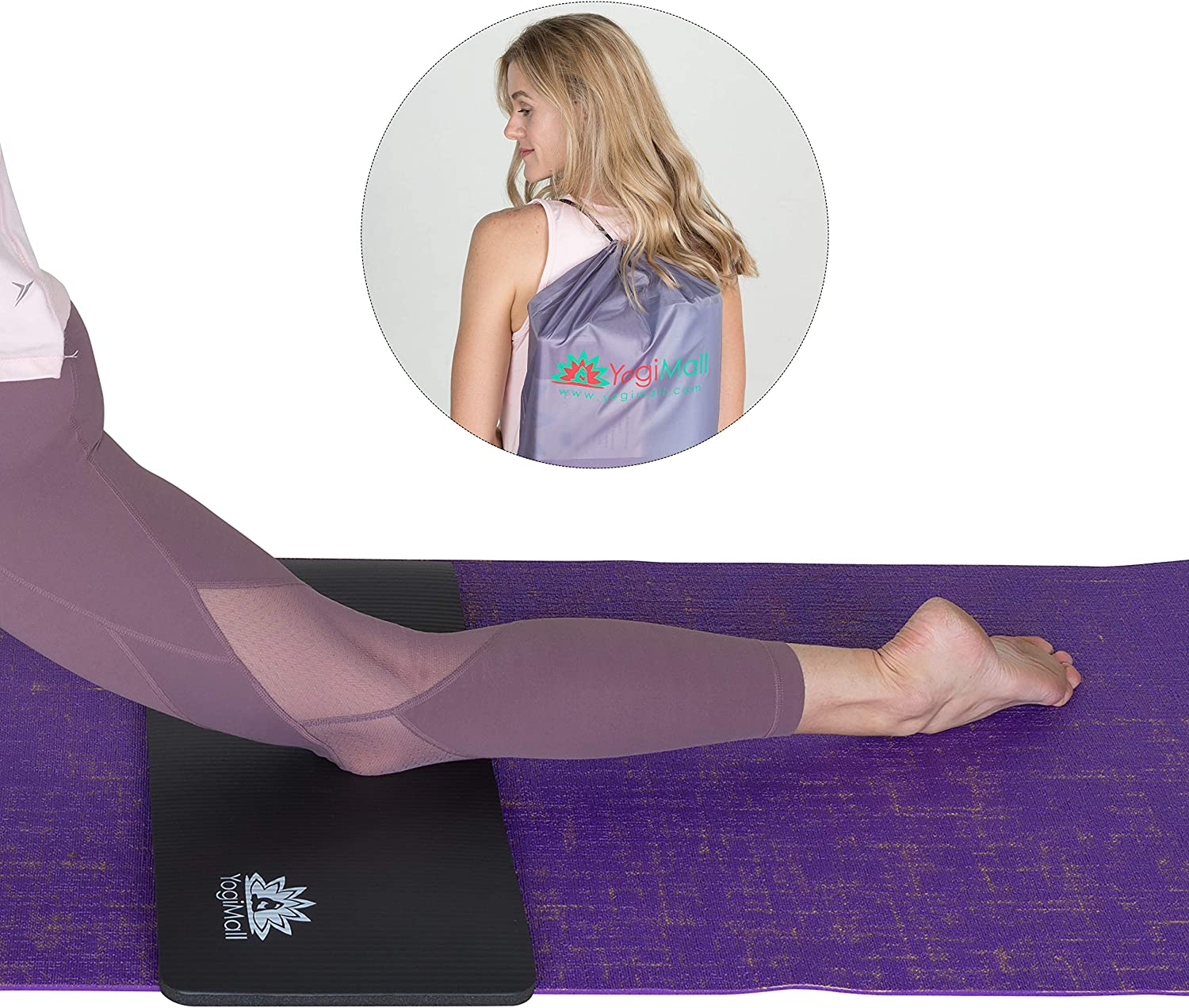 YogiMall Yoga Knee Pad Cushion, Yoga Block Carry Bag Sets for Pain Free Yoga Protect Knees, Deepen Your Poses Improve Balance – Great for Knees, Wrists, and Elbows – Choose from 3 Set Options