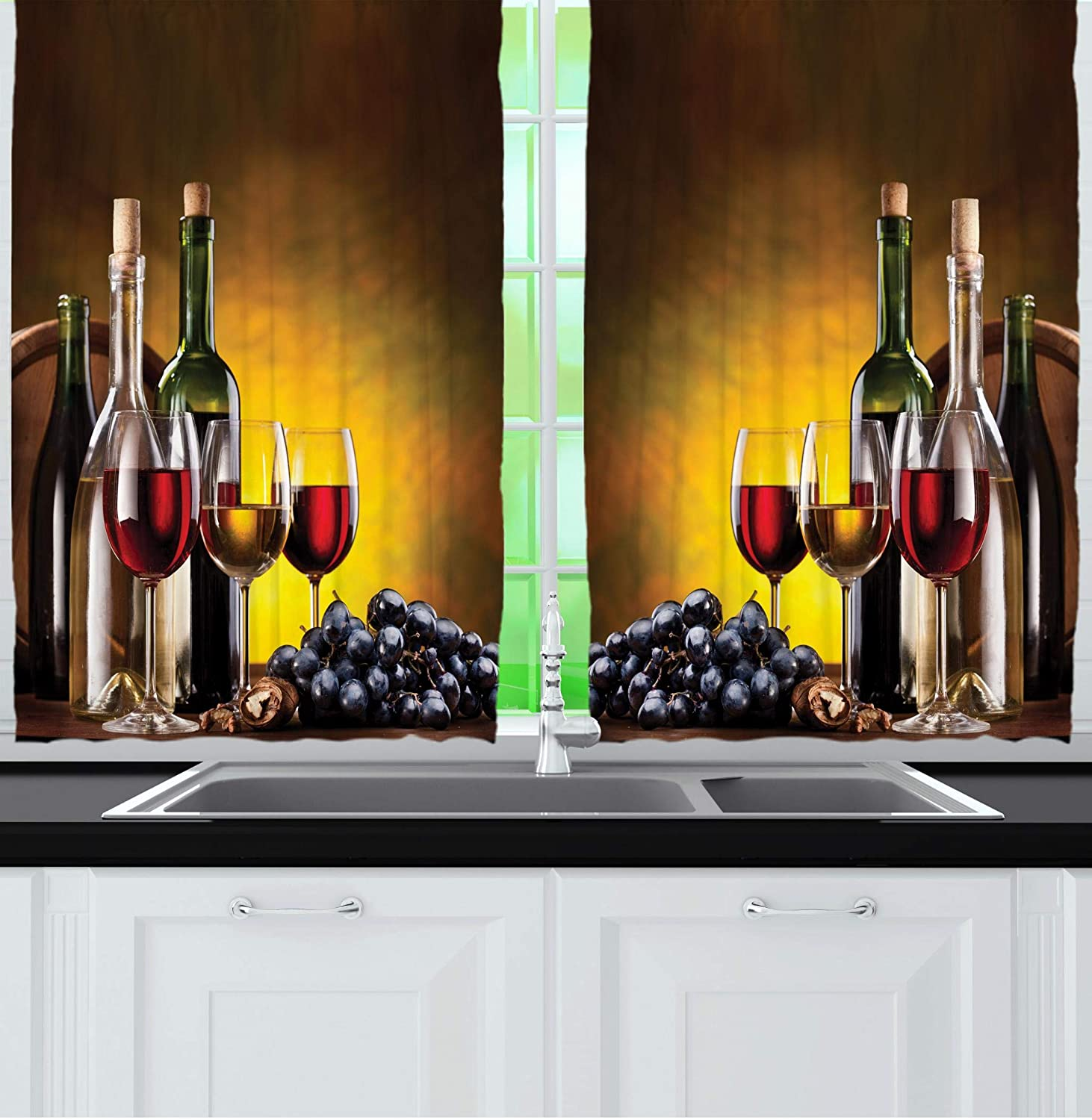 """Ambesonne Tuscany Wine Land Decor Collection, Grapes Wines Bottles Glasses Picture Printed Artwork, Window Treatments for Kitchen Dining Room Curtains 2 Panels Set, 55"""" X 39"""", Brown Black Red Yellow"""