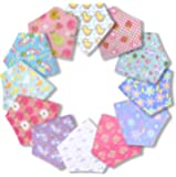 12 - Pack Girls Baby Bandana Bibs for Drooling and Teething | Hypoallergenic Organic Cotton, Highly Absorbent | Baby Shower for New Mothers