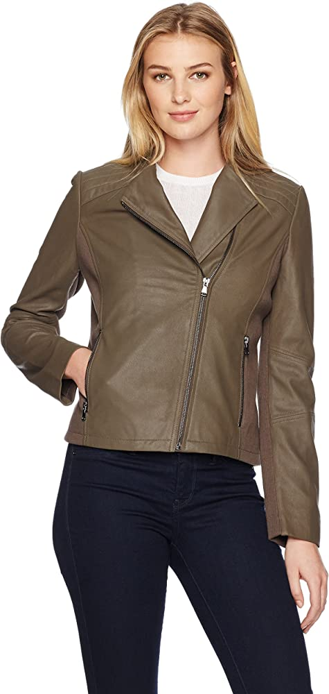 Amazon.com: Lark & Ro Moto chamarra de piel de la mujer, S ...