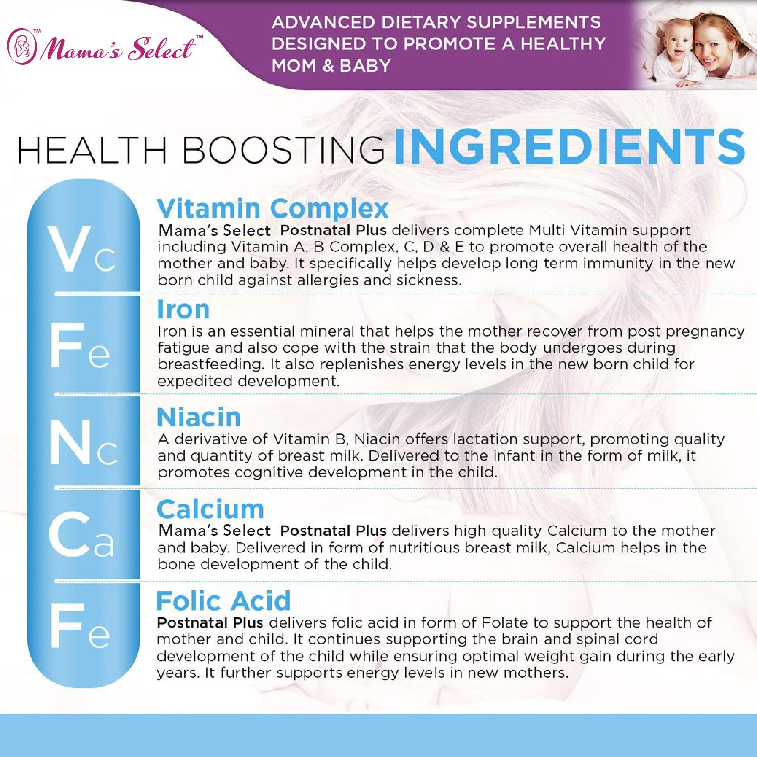 Vitamins and minerals in breast milk