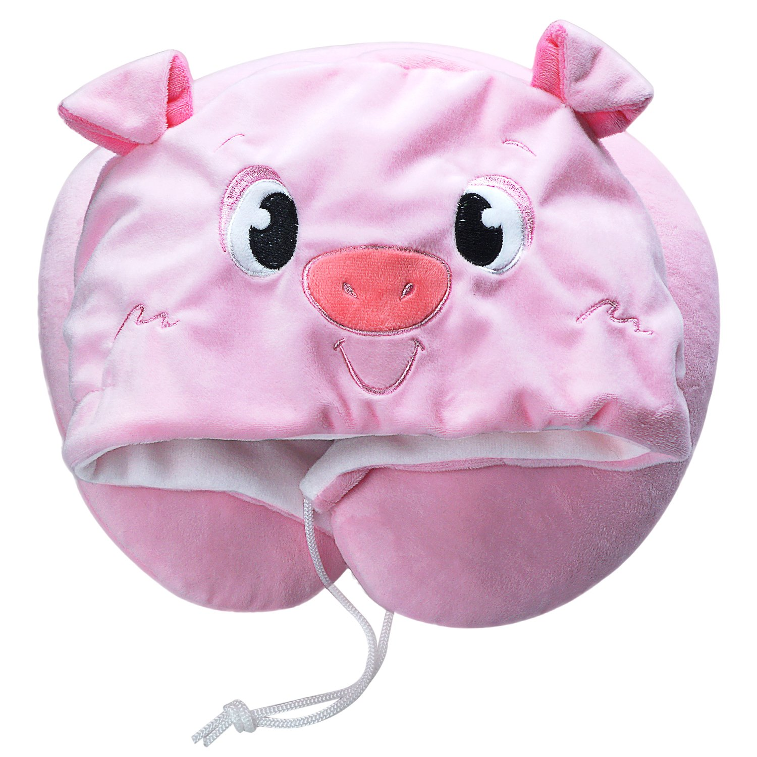 LOVOUS Cute Cartoon Animal Hooded Travel Neck Support Pillow Soft Plush Toy Comfortable U Shaped Pillow with Hat for Airplane, Office (Pink Pig) by LOVOUS (Image #1)