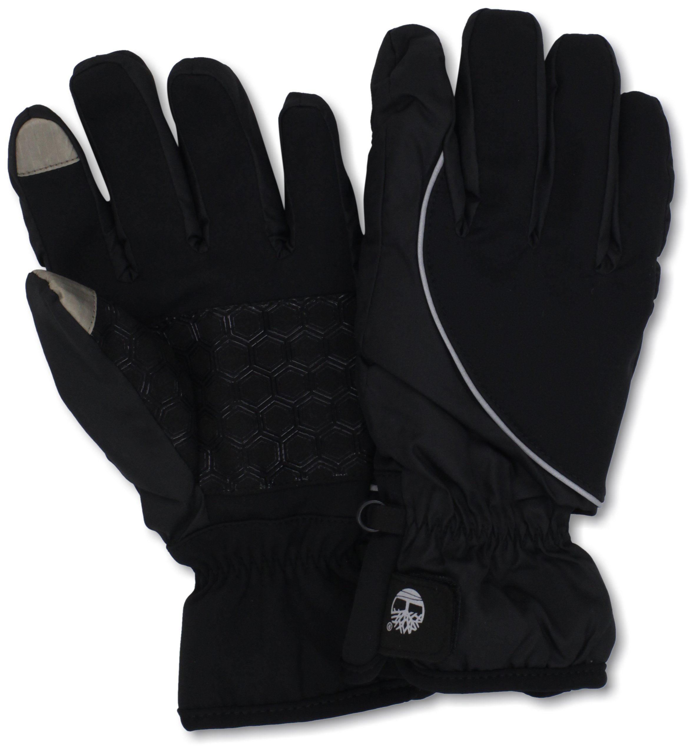 Timberland Men's Commuter Soft Shell Glove Printed Logo with Touchscreen Technology, Black/Grey, Large