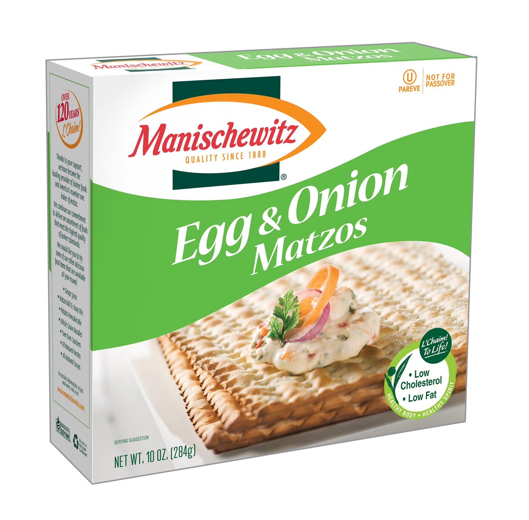 MANISCHEWITZ Egg & Onion Matzo, 10-Ounce Boxes (Pack of 8)