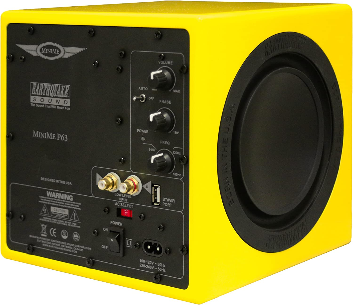 Earthquake Sound MiniMe-P63 Compact 6.5-inch Powered Subwoofer with Dual Passive Radiators, Yellow