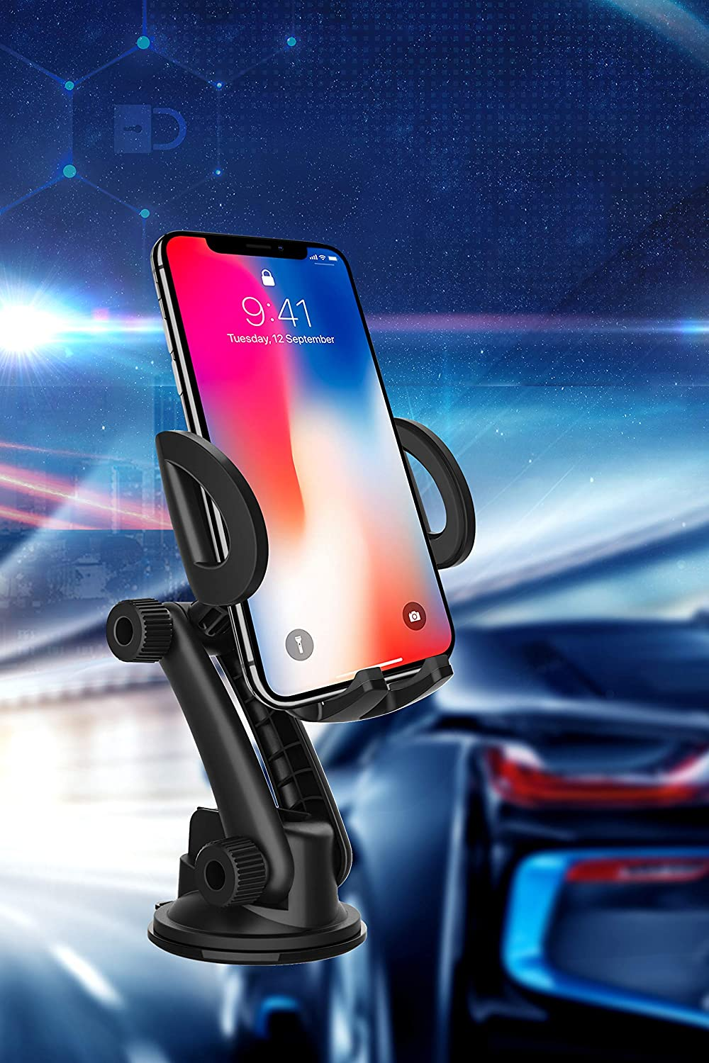 Black Car Phone Holder Mobile Phone Mount quickw Universal Phone Holder Compatible iPhone Xs XS Max XR X 8 8 Plus 7 7 Plus Samsung S20 Ultra Dashboard Windshield Strong Suction 2020 Upgraded