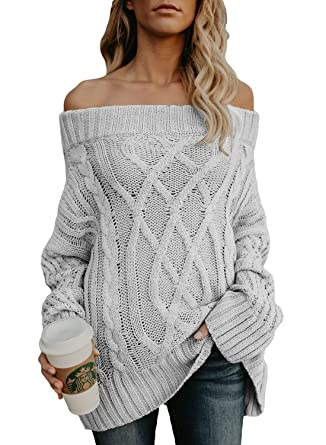 Roskiki Womens Cable Knit Sexy Off The Shoulder Oversized Sweaters
