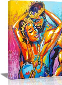 Vantboo African Queen And King Black American Couple Lovers Canvas Prints Wall Art Paintings Home Decor Artworks Pictures For Living Room Bedroom Bathroom Decoration Ready To Hang 16 X 20 Inches
