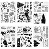 Konsait 95pcs Christmas Theme Clear Stamps, Different Style Christmas Silicone Stamps with Santa Claus,Snowflake…