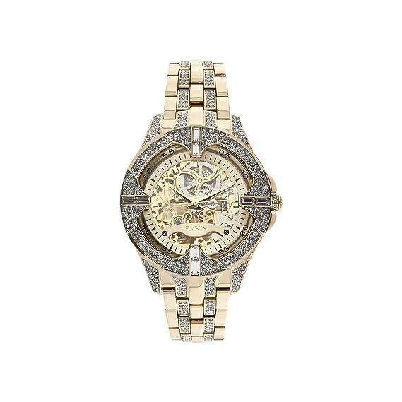 Amazon.com: Elgin Mens Crystal Bezel Transparent Automatic Skeleton Watch, Gold: Watches