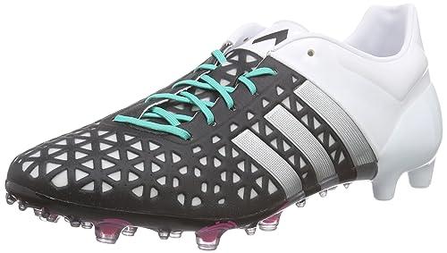 hot sale online ca19e bb87a adidas Ace 15.1 FGAG, Botas de fútbol para Hombre, NegroPlateadoBlanco  (NegbasPlamatFtwbla), 43 13 EU Amazon.es Zapatos y complementos