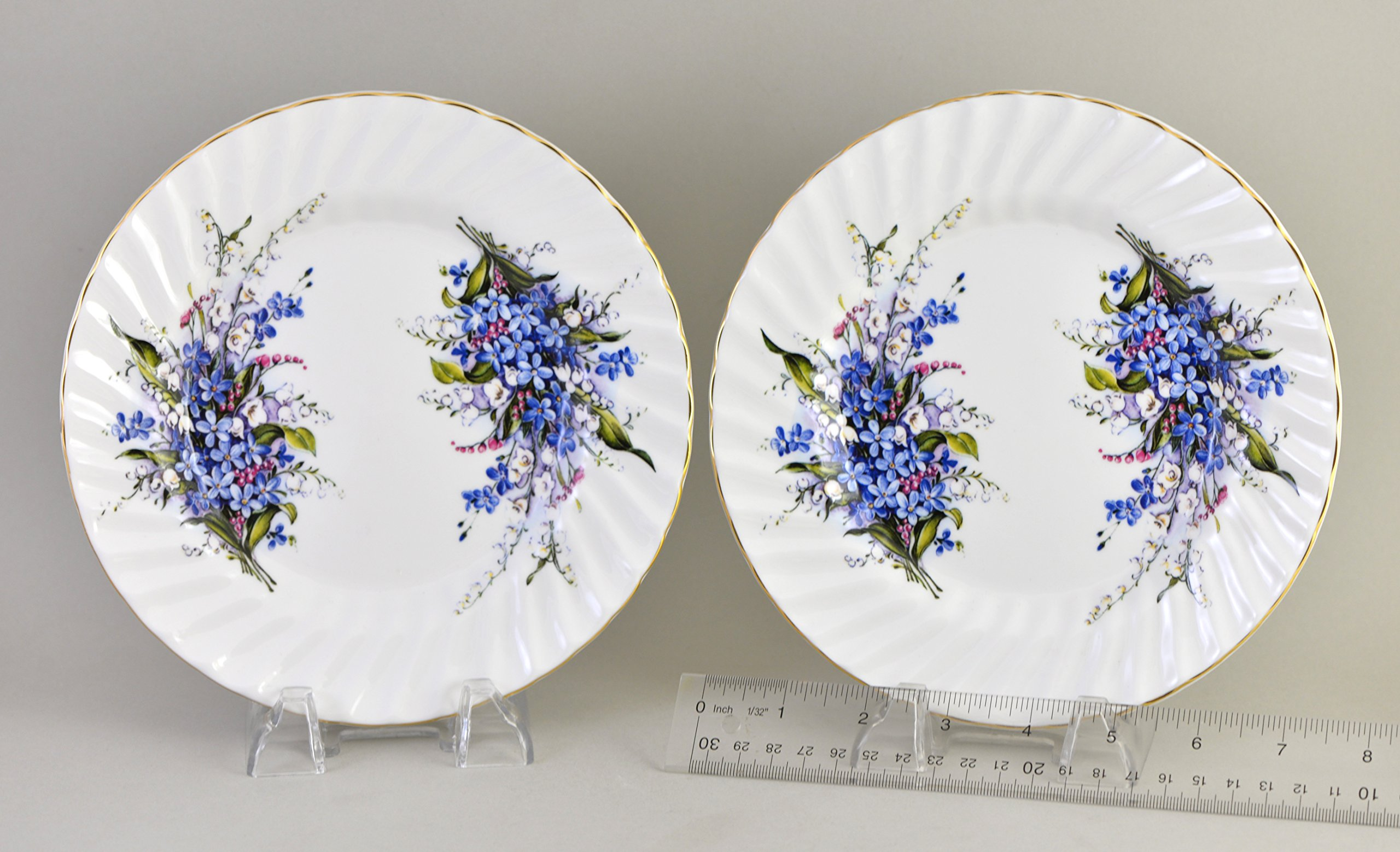 Forget-Me-Not 8'' plate, set of 2 - Fine English Bone China
