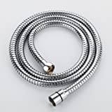 Homelody 1.5M Stainless Steel Shower Hose with Solid Brass Connector Double Interlock Replacement Pipe, Chrome Finish