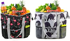 BeeGreen Cute Insulated Cooler Bags Pack of 2 Large Freezer Totes for Hot Cold Frozen Food Transport Collapsible Reusable Grocery Shopping Bag Heavy Duty Thermal Food Delivery Bag Black Grey