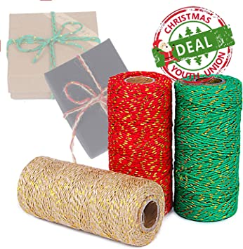 Elcoho 3 Rolls Christmas Twine Natural Jute String Cotton Twine for Gift Wrapping DIY Crafts Gardening,984 Feet Totally