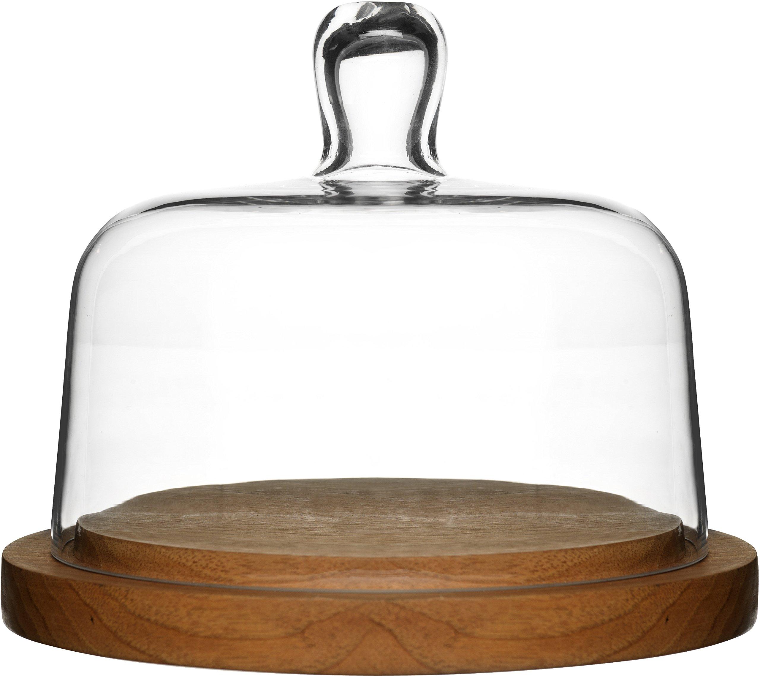 Sagaform 5026044 Oak Cheese Dome with Hand-Blown Glass Lid by Sagaform