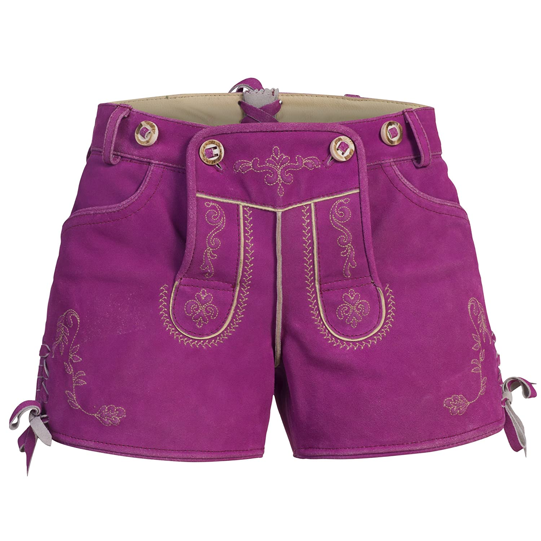 Damen Trachten Lederhose, Ledershorts in rapsberry / pink aus Ziegenveloursleder, verfügbar in Größe 34 bis 46
