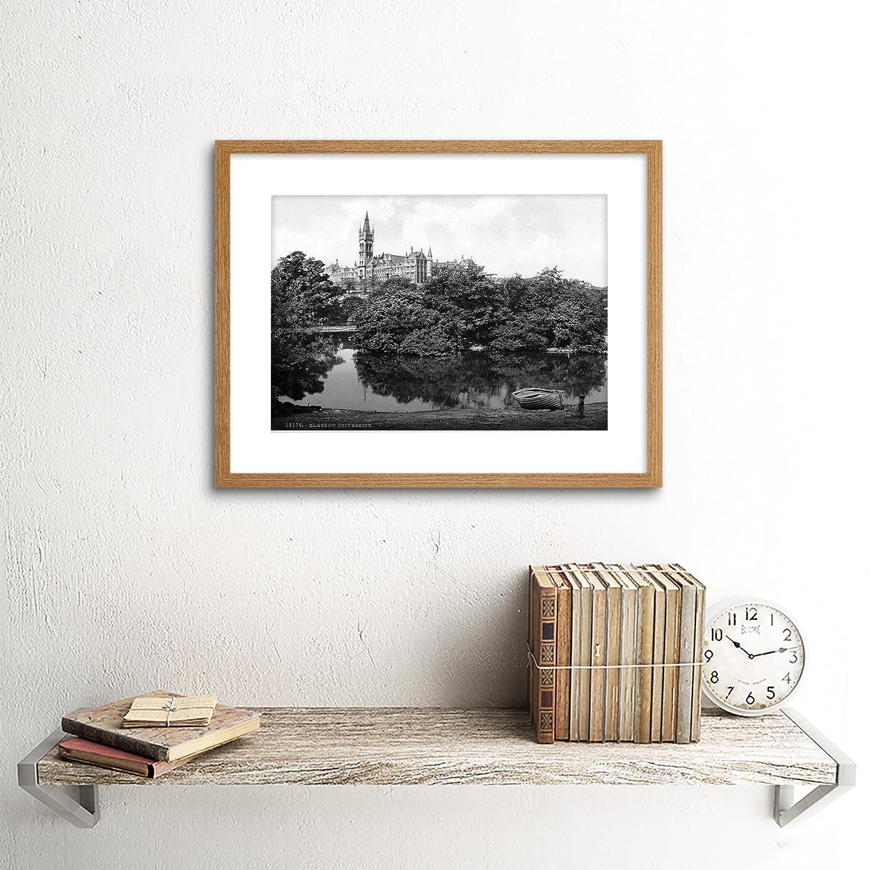 UNIVERSITY GLASGOW SCOTLAND 1895 VINTAGE OLD BW FRAMED ART PRINT MOUNT B12X1305