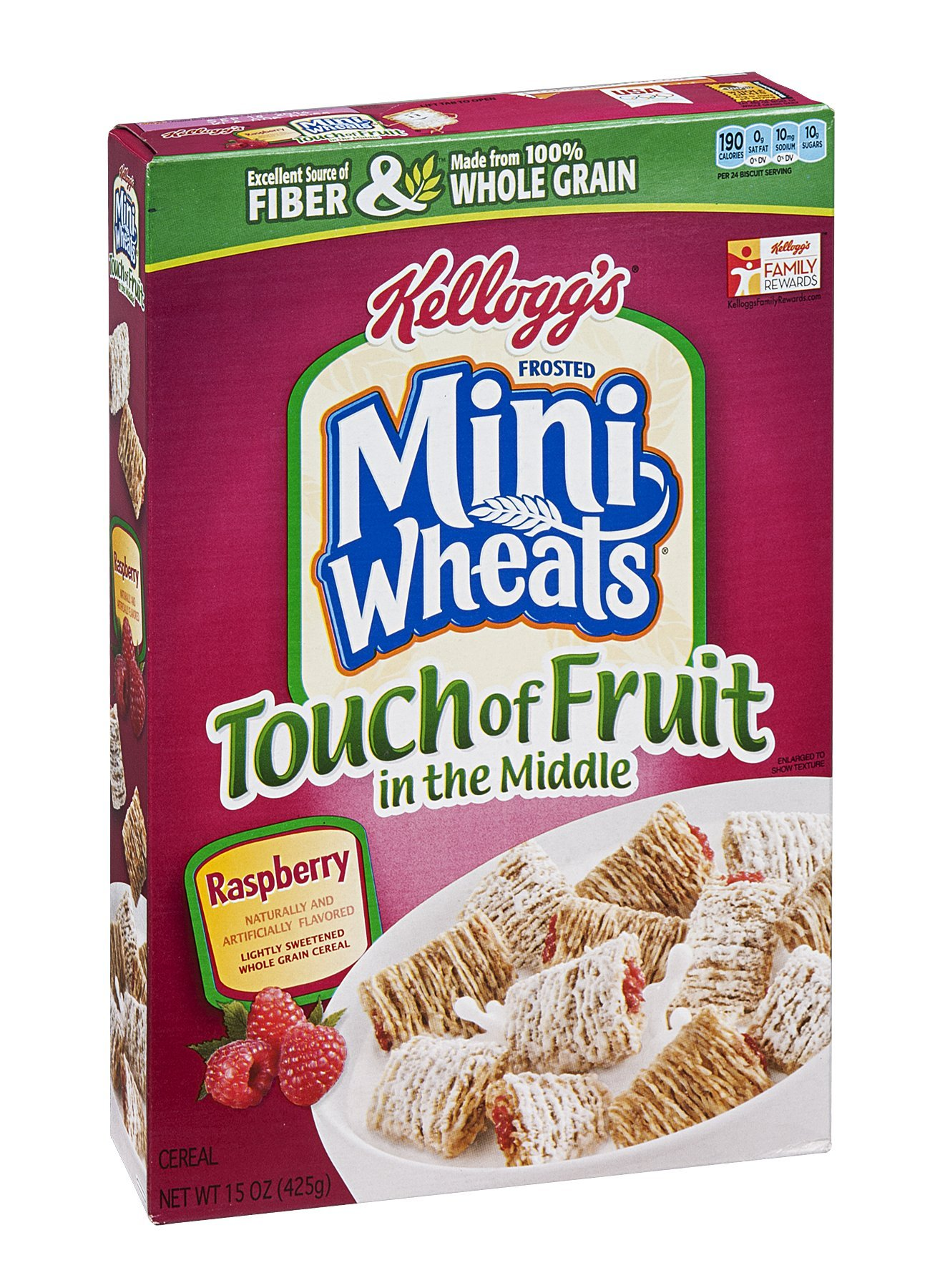Kellogg's Frosted Mini Wheats Touch Of Fruit In The Middle Raspberry Cereal 15 OZ (Pack of 20) by Frosted Mini-Wheats