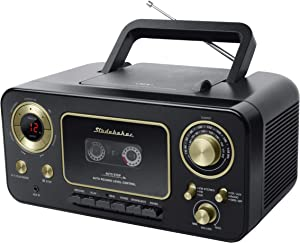 Studebaker SB2135BG Portable Stereo CD Player with AM/FM Radio and Cassette Player/Recorder in Black and Gold