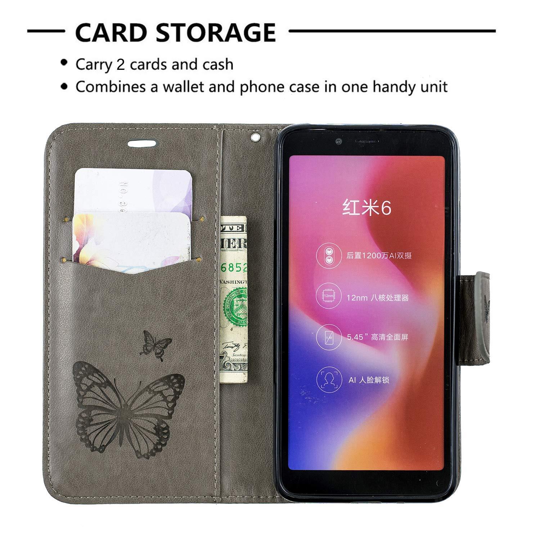 Docrax Xiaomi Redmi 6 Custodia Portafoglio in Pelle Porta Carta di Credito con Funzione di Supporto di Stand Antiurto Flip Cover a Libro per Xiaomi Redmi6 DOBFE140279 Grigio Redmi6A 6A Cover