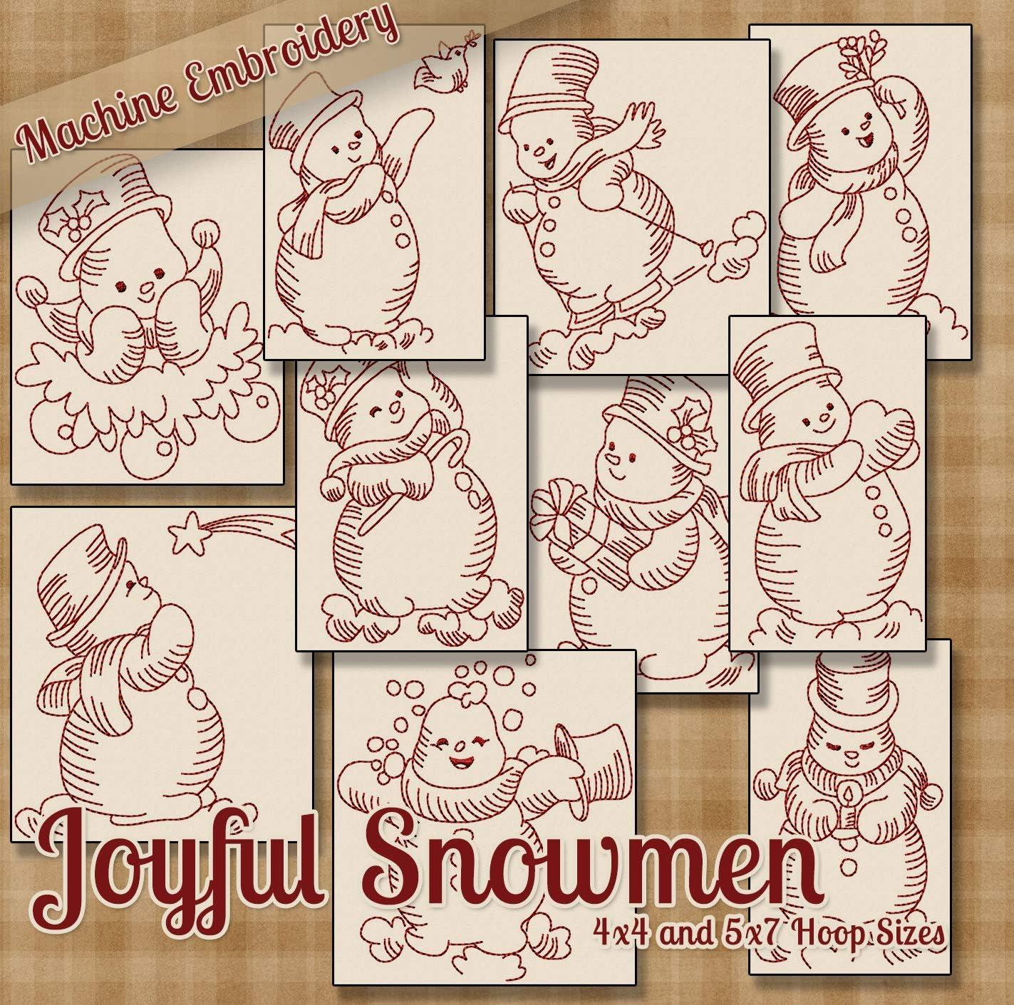 Multiformat Pattern CD Joyful Snowmen Redwork Embroidery Machine Designs on CD