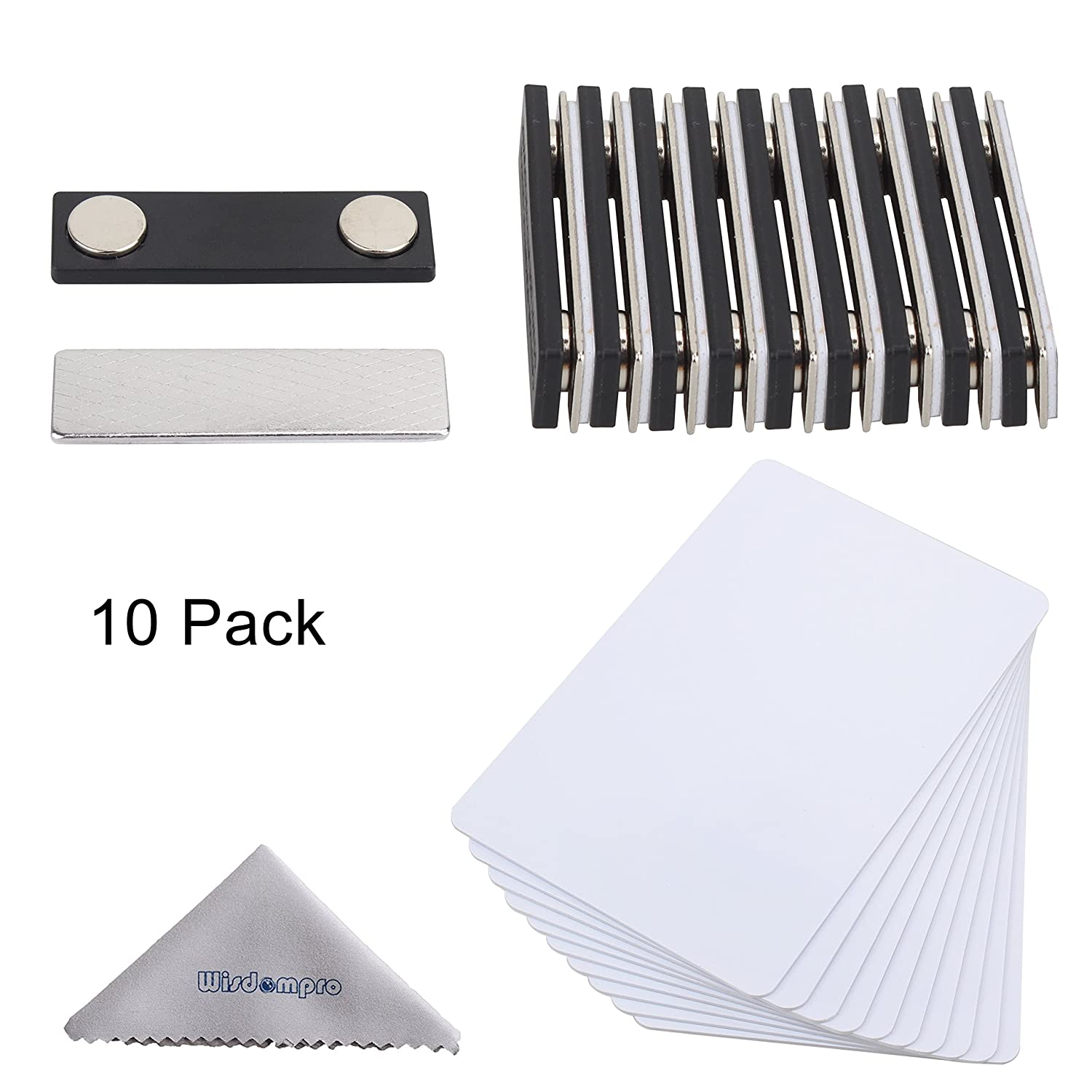 DIY Name Badges, Wisdompro® 10 Set White Printable Blank PVC Badges (3-3/8 x 2-1/8) with Magnetic Name Tag For Jacket, Lapel,or Shirt - No Holes in your Fine Jackets or Shirts 38418