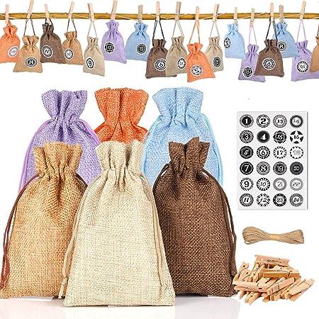 1. Juego de bolsas de tela de calendario de adviento de Navidad de bricolaje: bolsa de tela de calen