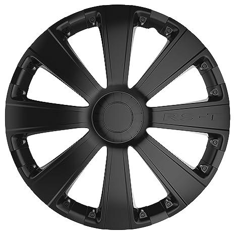 Car Plus 8050RSB RST Black- Juego de 4 tapacubos de alta calidad color negro,